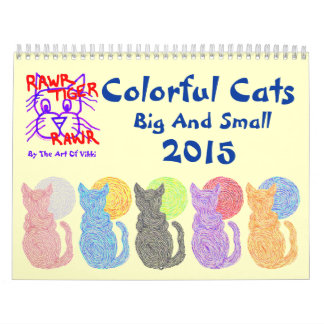 Gatos coloridos grandes y pequeño calendario 2015