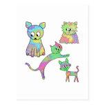 Gatos coloridos postal