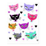 Gatos coloridos postales