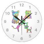 Gatos coloridos reloj
