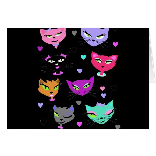 Gatos coloridos tarjeta de felicitación