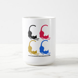 Gatos comunes 4 logotipos multicolores tazas de café