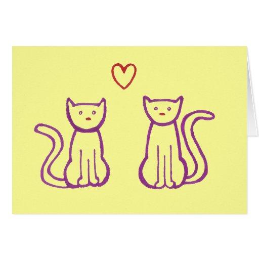 Gatos con el corazón felicitacion