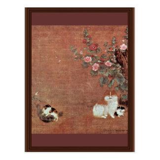 Gatos con los muchachos en un jardín de Mao I (la  Tarjeta Postal