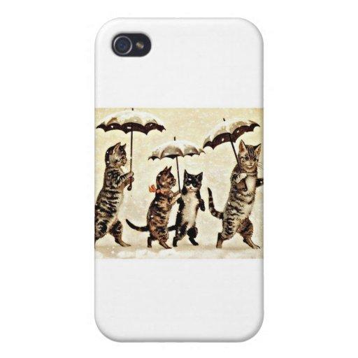 Gatos con los paraguas iPhone 4 carcasas