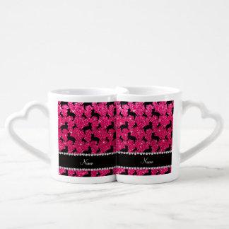 Gatos conocidos personalizados del brillo del rosa tazas para parejas