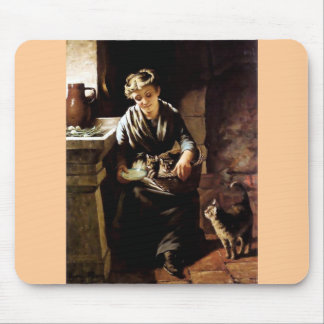Gatos de alimentación de la mujer pintura antigua alfombrilla de ratones