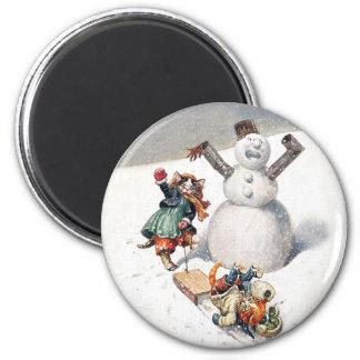 Gatos de Arturo Thiele que juegan en la nieve Imán Redondo 5 Cm