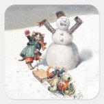 Gatos de Arturo Thiele que juegan en la nieve Calcomanías Cuadradas