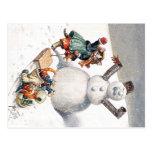 Gatos de Arturo Thiele que juegan en la nieve Tarjeta Postal
