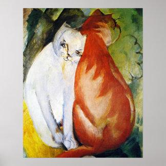 Gatos de Franz Marc Póster