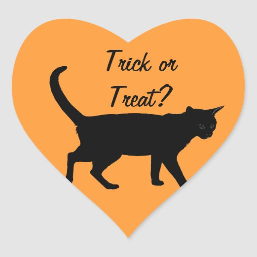 ¡Gatos de Halloween! Calcomanía Corazón Personalizadas