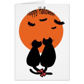 Gatos de Halloween románticos Tarjetón
