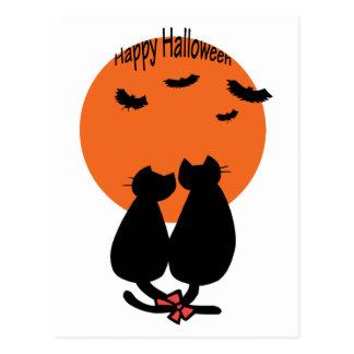 Gatos de Halloween románticos Postal