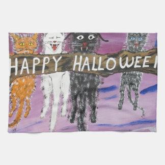 Gatos de Halloween Scaredy Toallas De Cocina