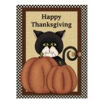 Gatos de la acción de gracias que saludan la posta postales