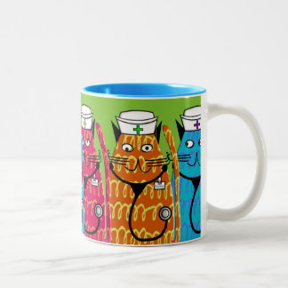 Gatos de la enfermera taza de café de dos colores
