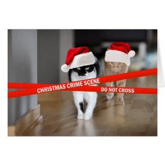 Gatos de la escena del crimen del navidad tarjeta de felicitación