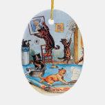 Gatos de la limpieza de Lois Wain Ornamentos Para Reyes Magos
