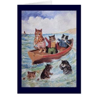 Gatos de la natación de Louis Wain Tarjeta De Felicitación