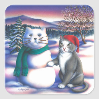 Gatos de la nieve pegatina cuadrada