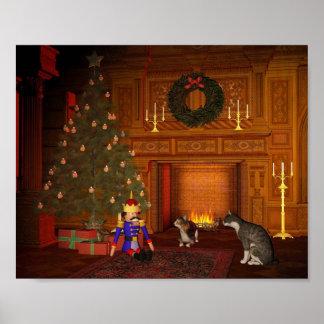 Gatos de la Nochebuena por el fuego Póster