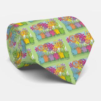 Gatos de la paz del flower power de la buena corbatas personalizadas