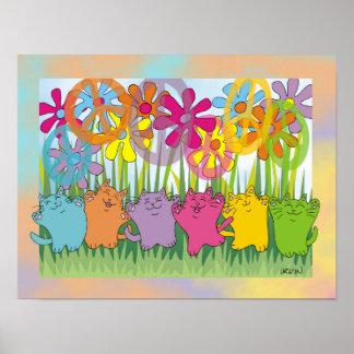 Gatos de la paz del flower power de la buena fortu impresiones