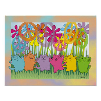 Gatos de la paz del flower power de la buena fortu póster