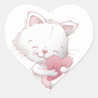 Gatos de la tarjeta del día de San Valentín Pegatina En Forma De Corazón