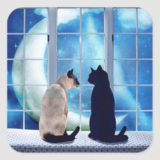 Gatos de la ventana pegatina cuadrada