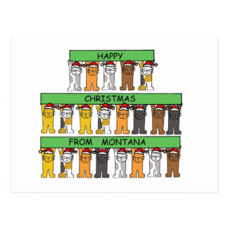 Gatos de las felices Navidad de Montana Postales