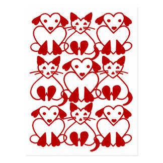 Gatos de los corazones de la tarjeta del día de postales