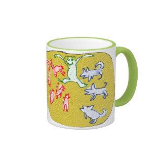 gatos de los perros y un mono taza de dos colores