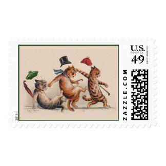 Gatos de Louis Wain - sellos lindos del animal del