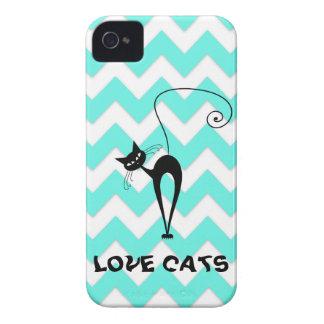 Gatos de moda divertidos del amor del galón Case-Mate iPhone 4 protectores