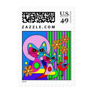 gatos de s, franqueo colorido moderno