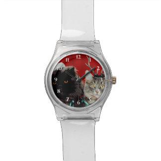 Gatos de Santa y del reno Reloj