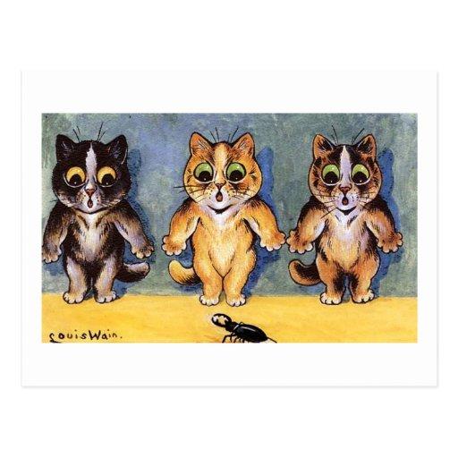 Gatos de Scaredy de Louis Wain Postales
