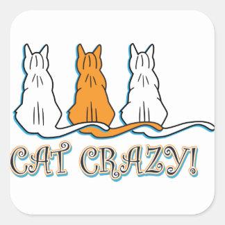 Gatos de Tabby anaranjados locos del gato Pegatina Cuadradas Personalizadas
