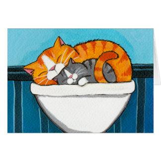 Gatos de Tabby en el fregadero - tarjeta en blanco