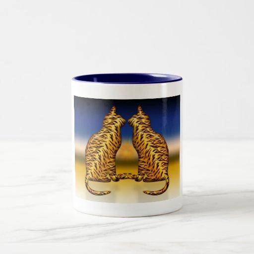 Gatos de tigre taza de café de dos colores