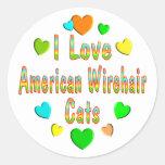 Gatos de Wirehair del americano del amor Pegatinas Redondas
