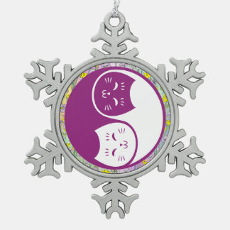 Gatos de Yin Yang en ciruelo Adorno De Peltre En Forma De Copo De Nieve