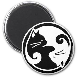 Gatos de Yin Yang Imán Redondo 5 Cm