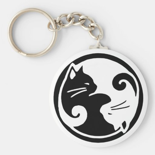 Gatos de Yin Yang Llavero