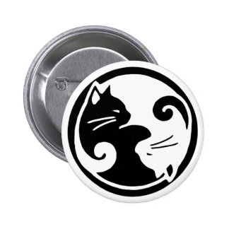 Gatos de Yin Yang Pin Redondo De 2 Pulgadas