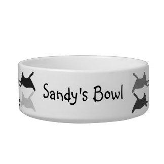 Gatos del acróbata negros y gris, plato personaliz tazones para comida para gato