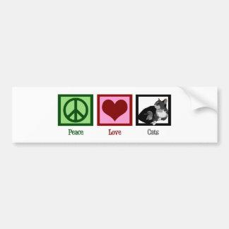 Gatos del amor de la paz lindos pegatina para auto