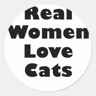 Gatos del amor de las mujeres reales etiqueta redonda